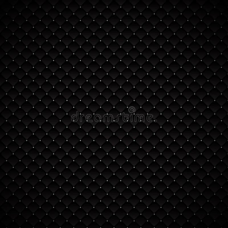 与银色小点的摘要豪华黑几何正方形样式设计在黑暗的背景 豪华纹理 金属的碳 向量例证