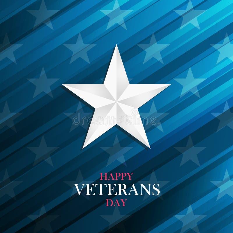与银色星的美国愉快的退伍军人日贺卡在蓝色背景 库存例证