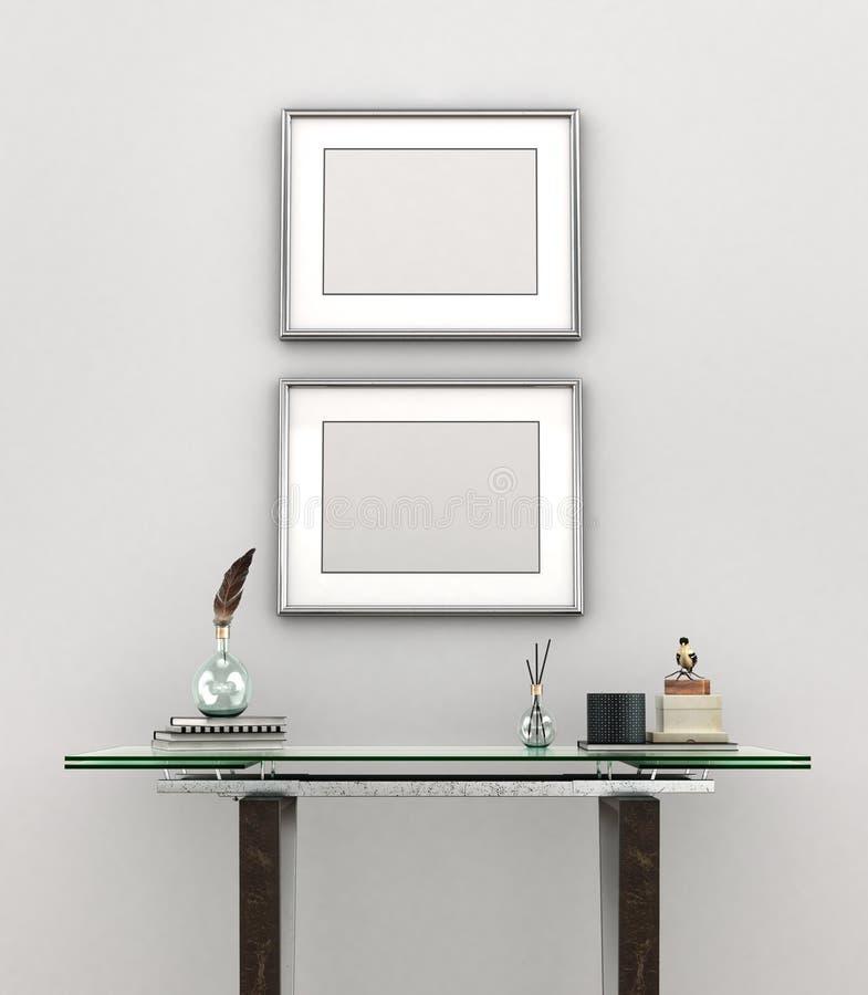 与银色框架的空白的绘画 向量例证