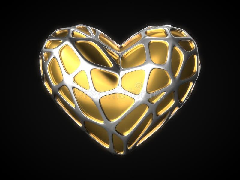 与银色框架的金黄心脏的情人节 3d例证 皇族释放例证