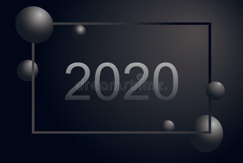 2020与银色梯度框架,灰色球的新年快乐表面无光泽的黑圣诞节横幅 r 皇族释放例证