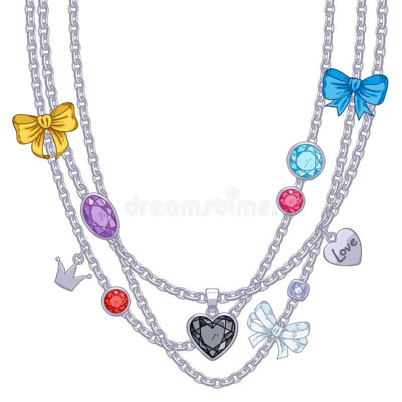 与银色链子、宝石和弓的项链 皇族释放例证