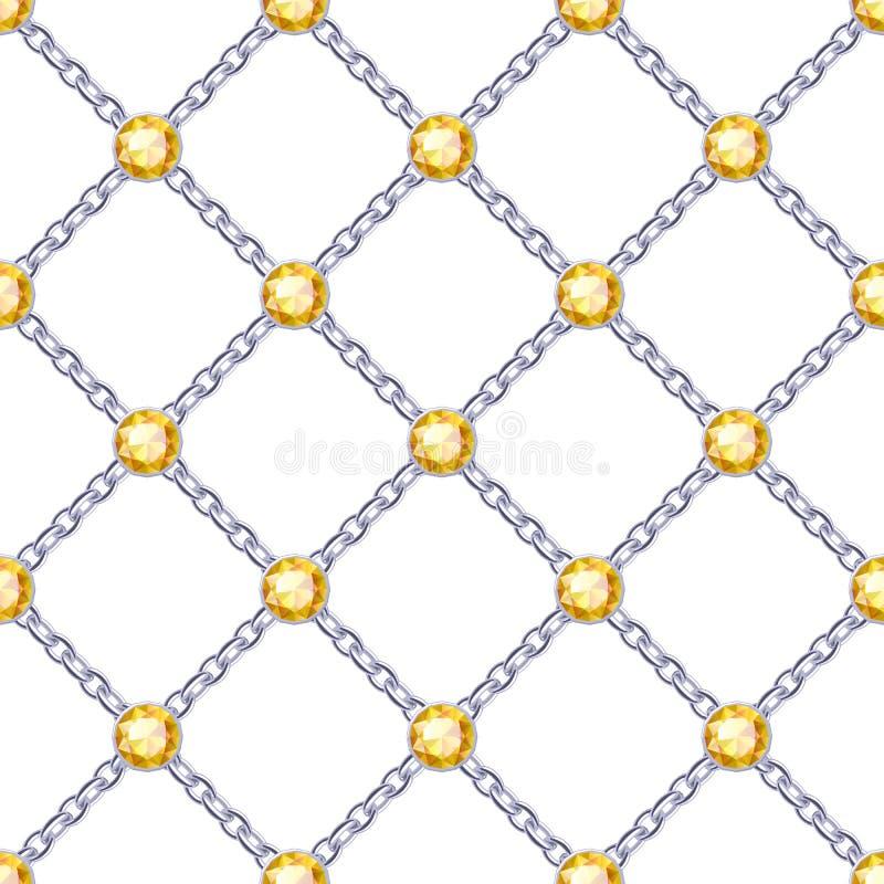 与银色链子和宝石的无缝的样式 库存例证