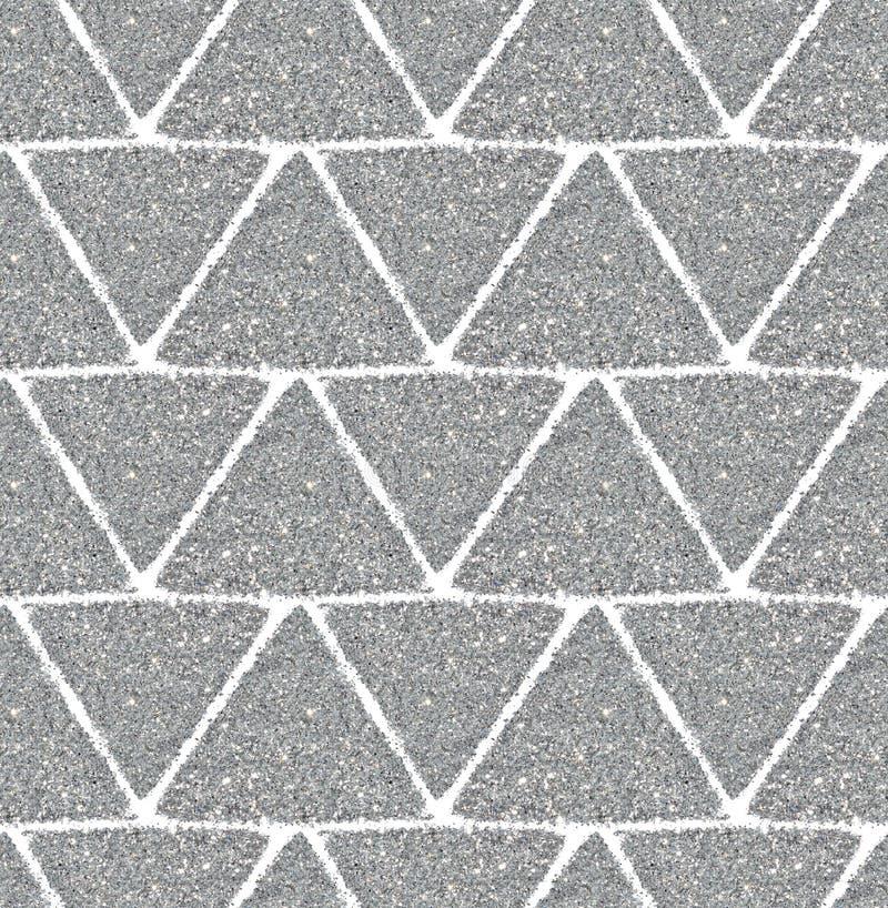 与银色闪烁,无缝的样式三角的背景  免版税图库摄影