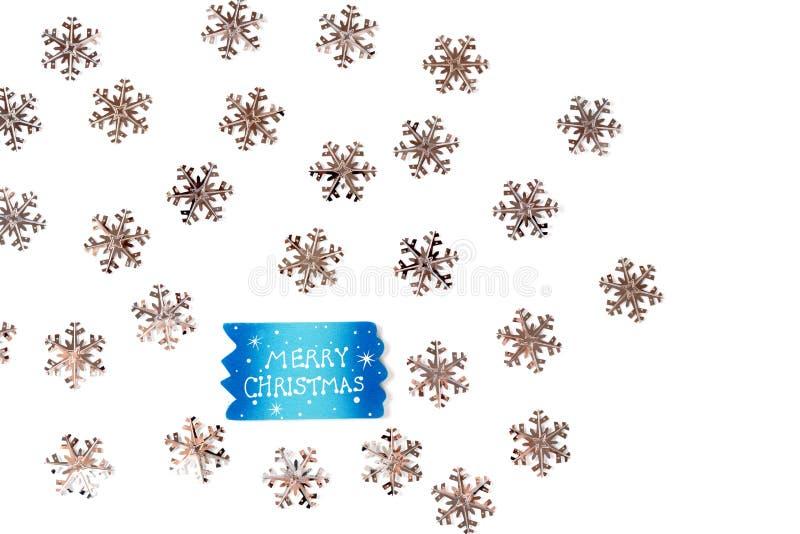 与银色雪花的圣诞节背景 免版税库存图片