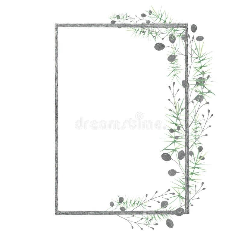 与银色,绿色,紫色,紫罗兰色叶子和分支的水彩框架在白色背景 卡片和邀请的理想 向量例证