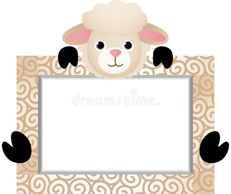 与银行标签的逗人喜爱的绵羊 向量例证