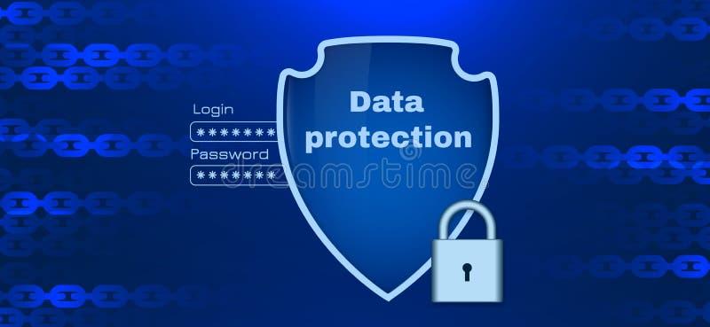 与链元素的数据保护题材 库存例证
