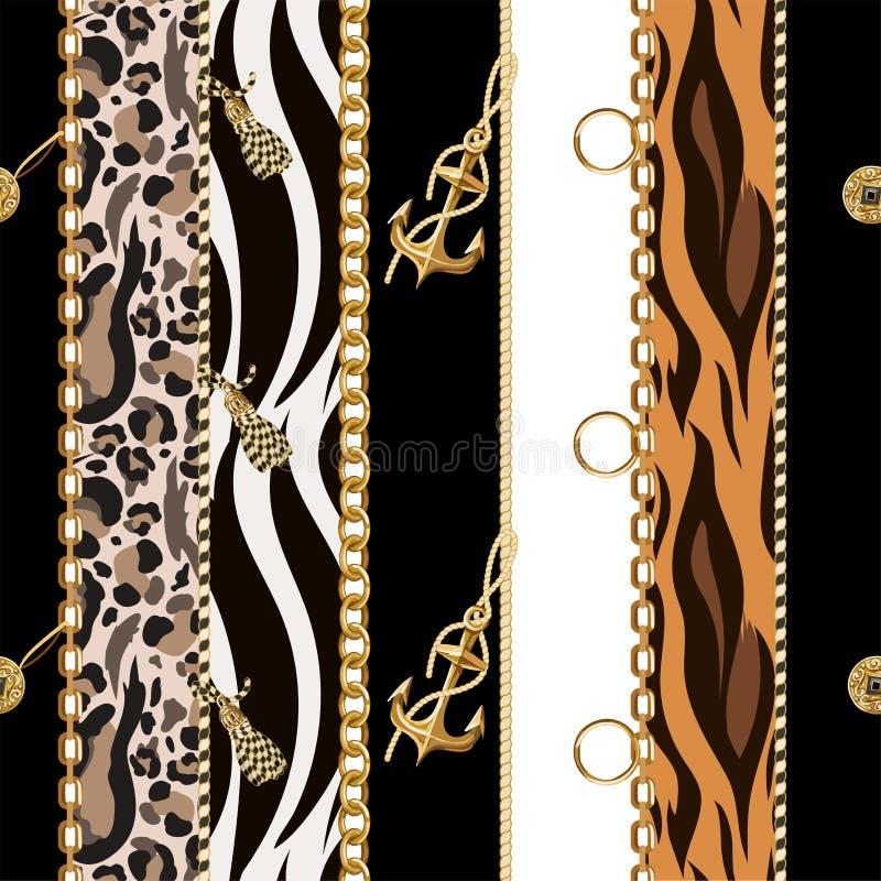 与链子、船锚、硬币在豹子和斑马背景的无缝的样式 向量 皇族释放例证