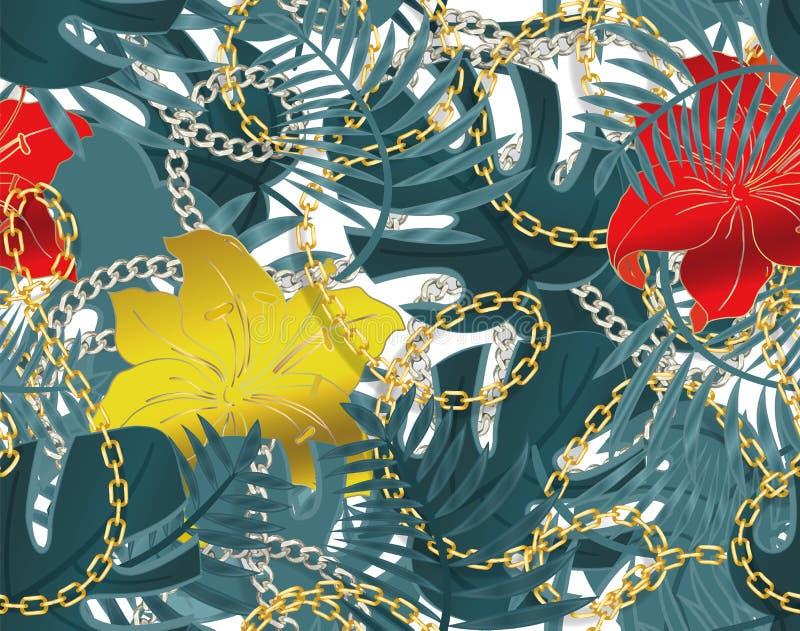 与链子和热带叶子和木槿花的无缝的夏天样式 r E 皇族释放例证