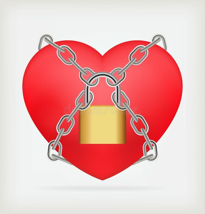 与链子的爱锁着的重点形状 向量例证