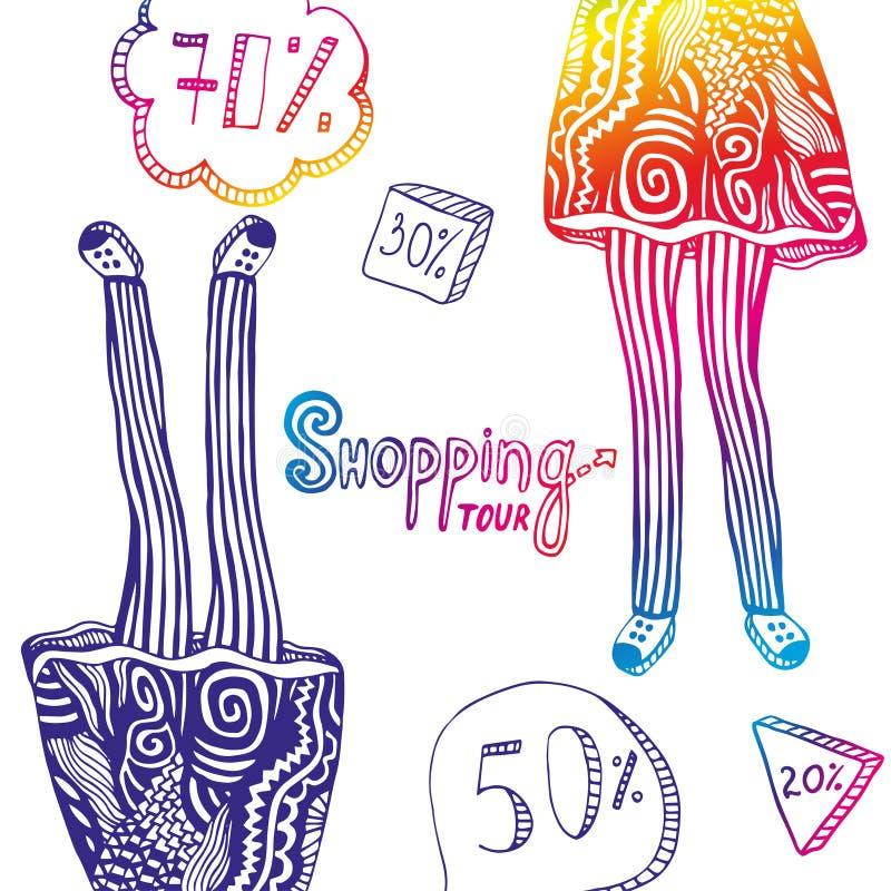 与销售元素的五颜六色的妇女的例证和腿乱画的塑造装饰品 传染媒介旅行背景 向量例证