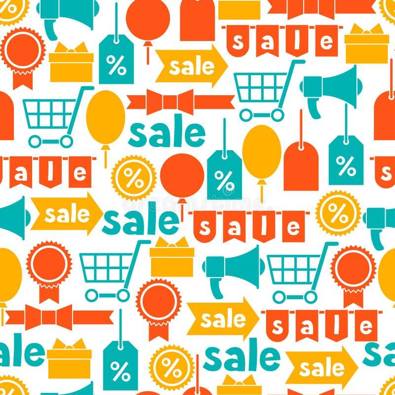 与销售和购物象的无缝的样式 库存例证