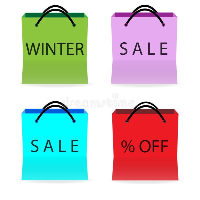 与销售标志的购物袋 向量例证