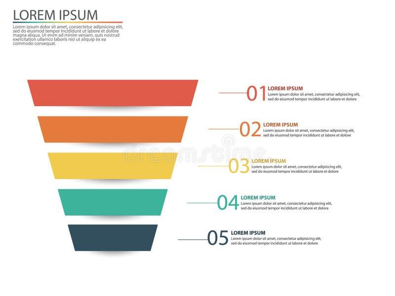 与销售漏斗的阶段的企业infographics 皇族释放例证