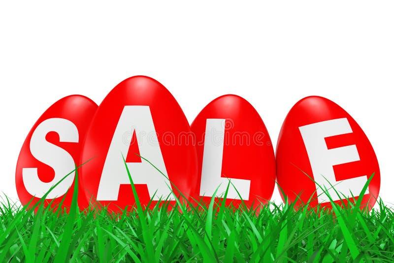 与销售的红色复活节彩蛋签到绿草 3d翻译 向量例证