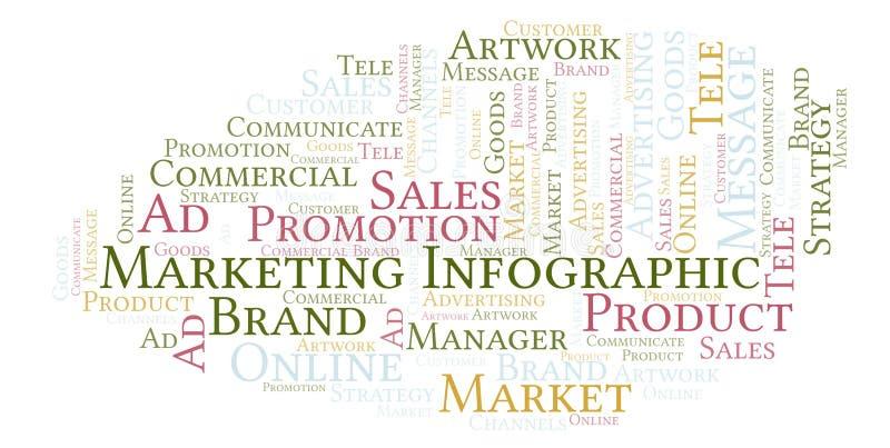 与销售Infographic的文本的词云彩 向量例证