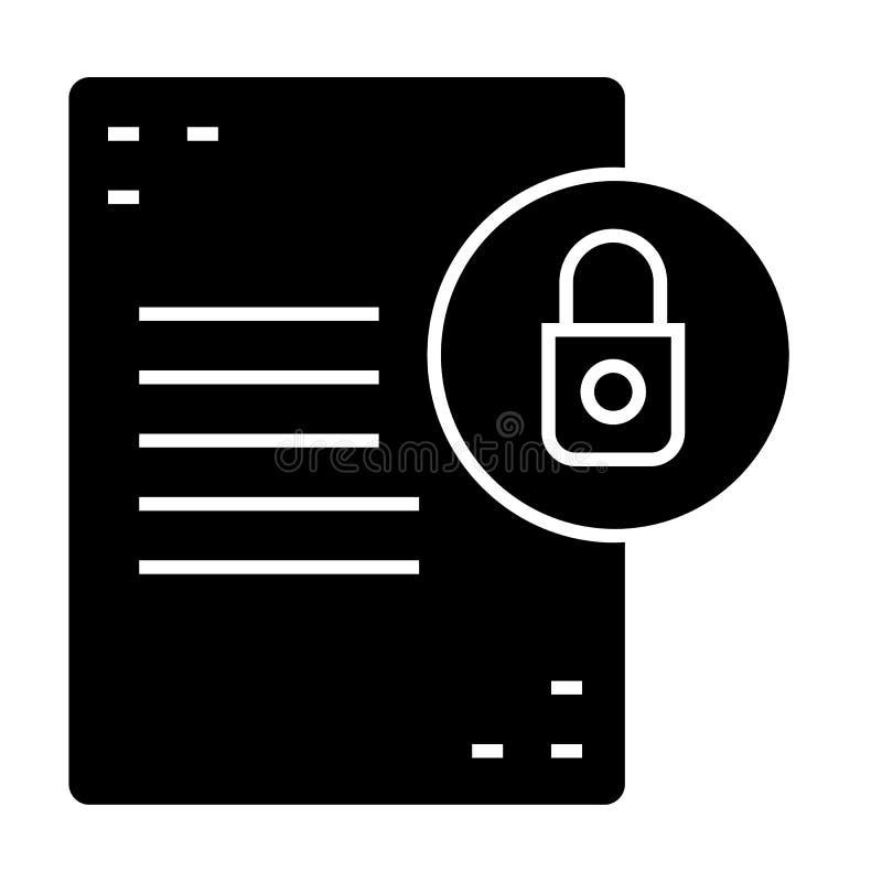 与锁坚实象的文件 与挂锁在白色隔绝的传染媒介例证的名单 文件保护纵的沟纹样式 向量例证
