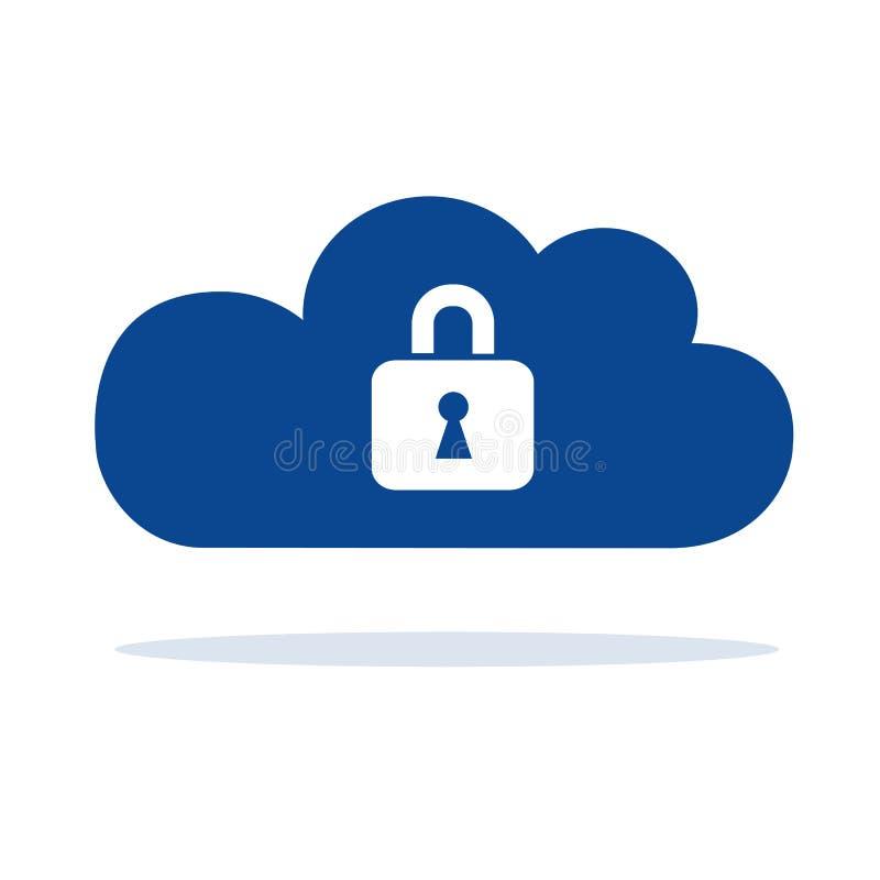 与锁安全概念标志的蓝色云彩计算机存储 库存例证