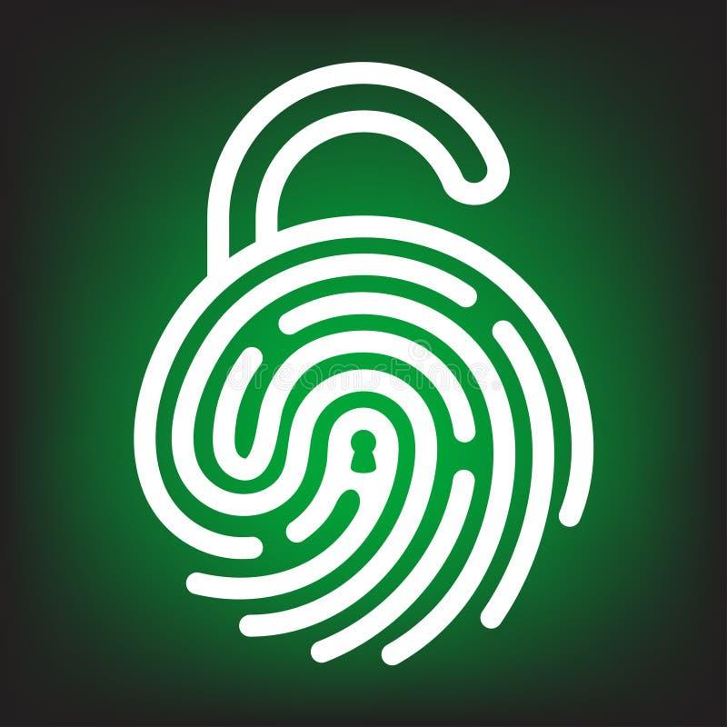 与锁形状的指纹 库存例证