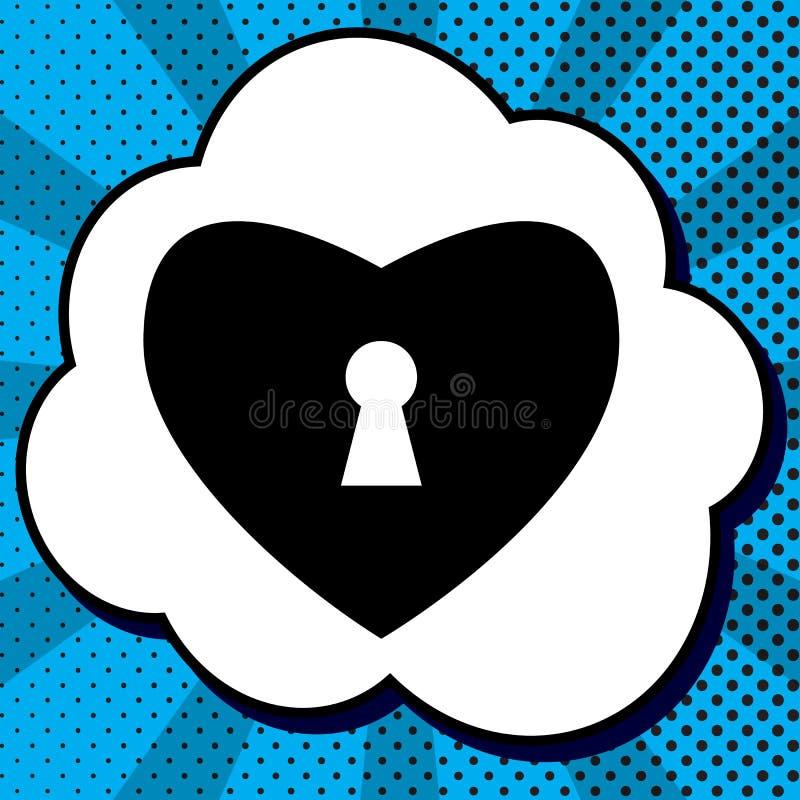 与锁标志的心脏 向量 在泡影的黑象在蓝色流行音乐 向量例证