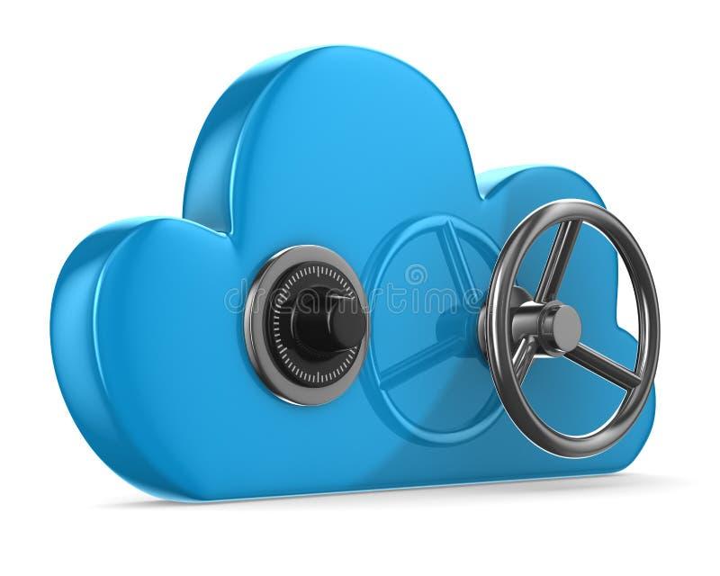 与锁的云彩在白色背景 库存例证