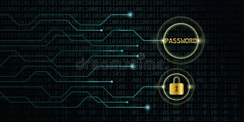 与锁的安全数字网上密码 皇族释放例证