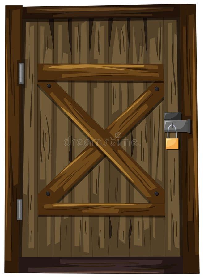 与锁的木门 库存例证