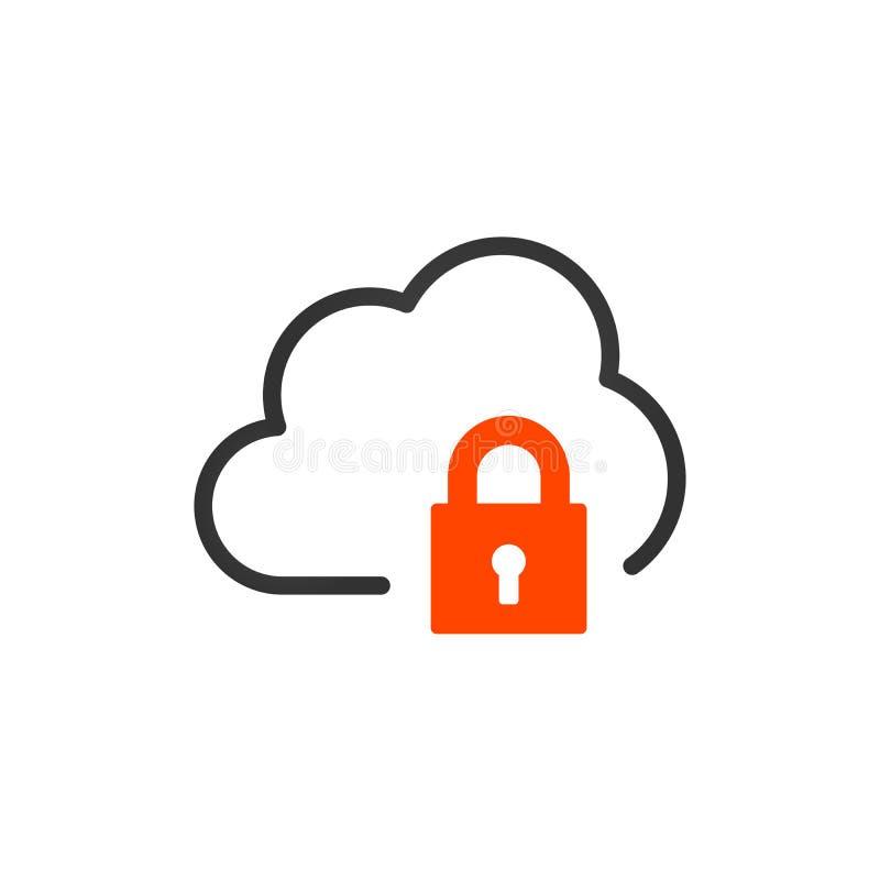 与锁的线性云彩象 被加密的数据,vpn概念 在空白背景查出的向量例证 皇族释放例证
