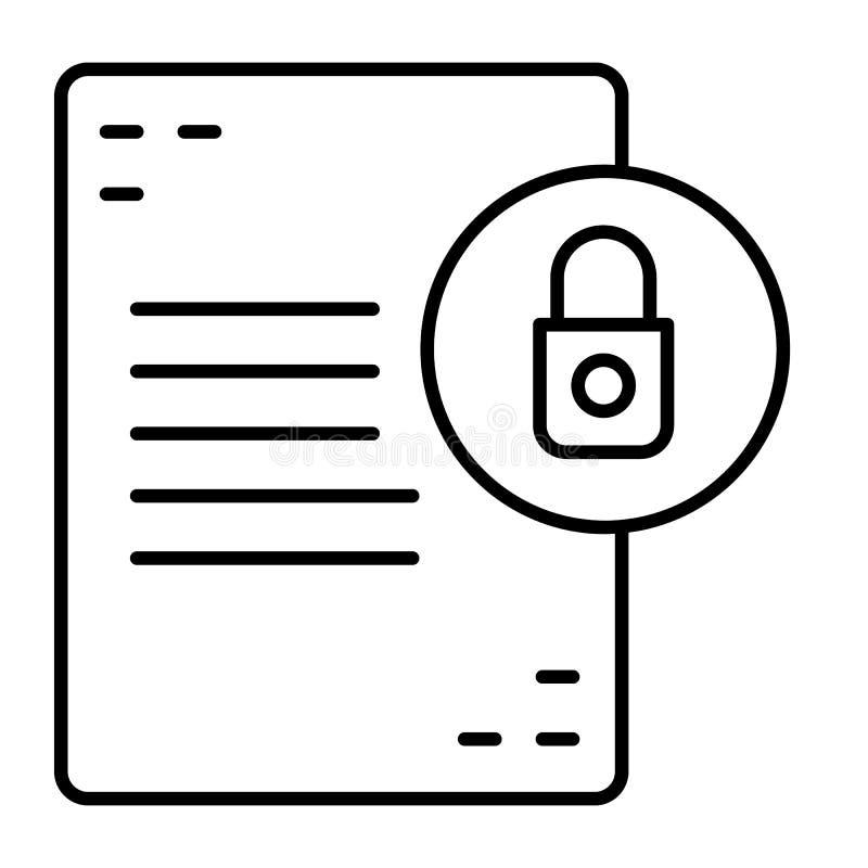 与锁稀薄的线象的文件 与挂锁在白色隔绝的传染媒介例证的名单 文件保护概述 库存例证