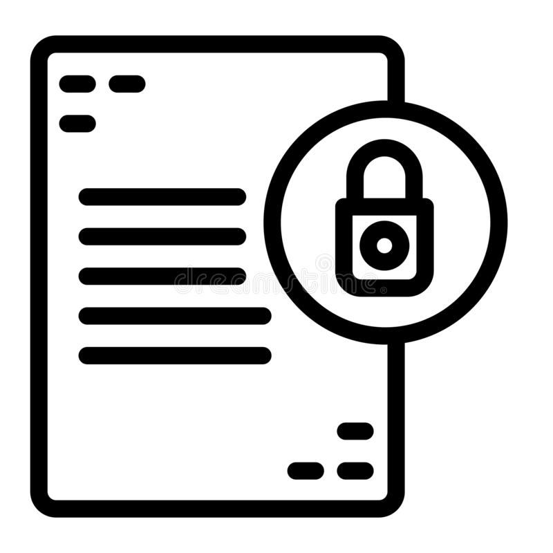 与锁线象的文件 与挂锁在白色隔绝的传染媒介例证的名单 文件保护概述样式 库存例证