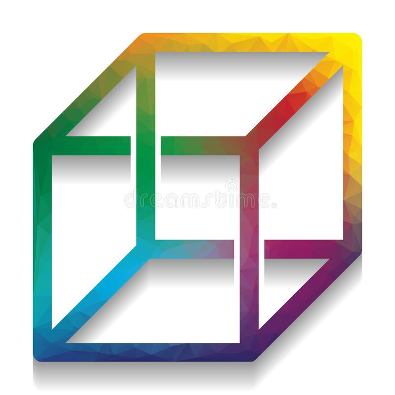 与错觉的架线的立方体标志 向量 五颜六色的象机智 皇族释放例证