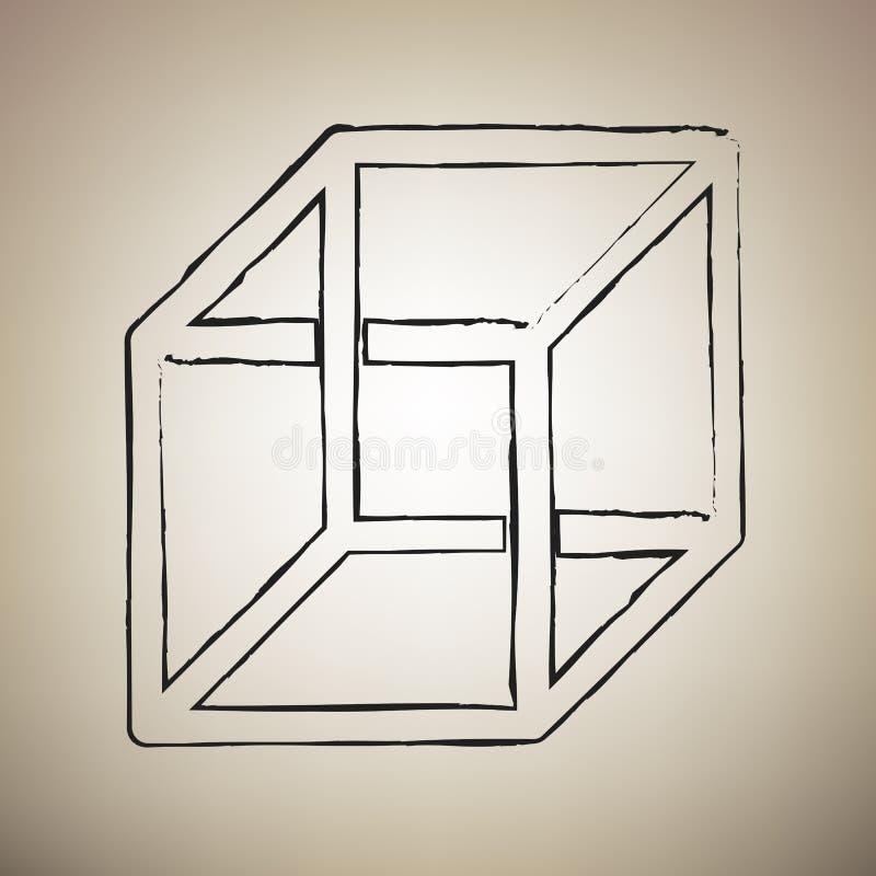 与错觉的架线的立方体标志 向量 刷子drawed blac 库存例证