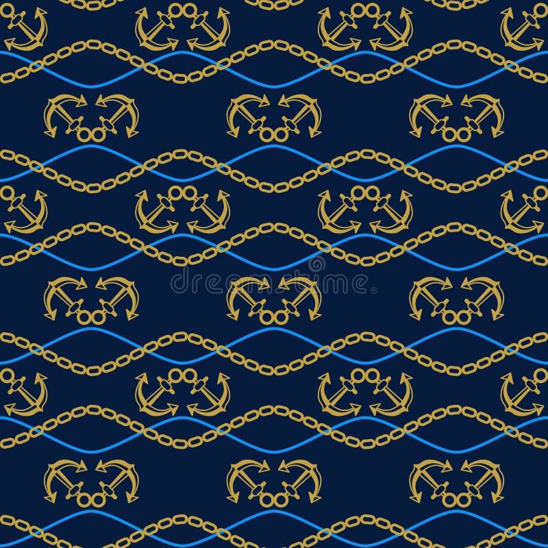 与锚链和波浪的无缝的样式 海洋题材持续的背景  皇族释放例证