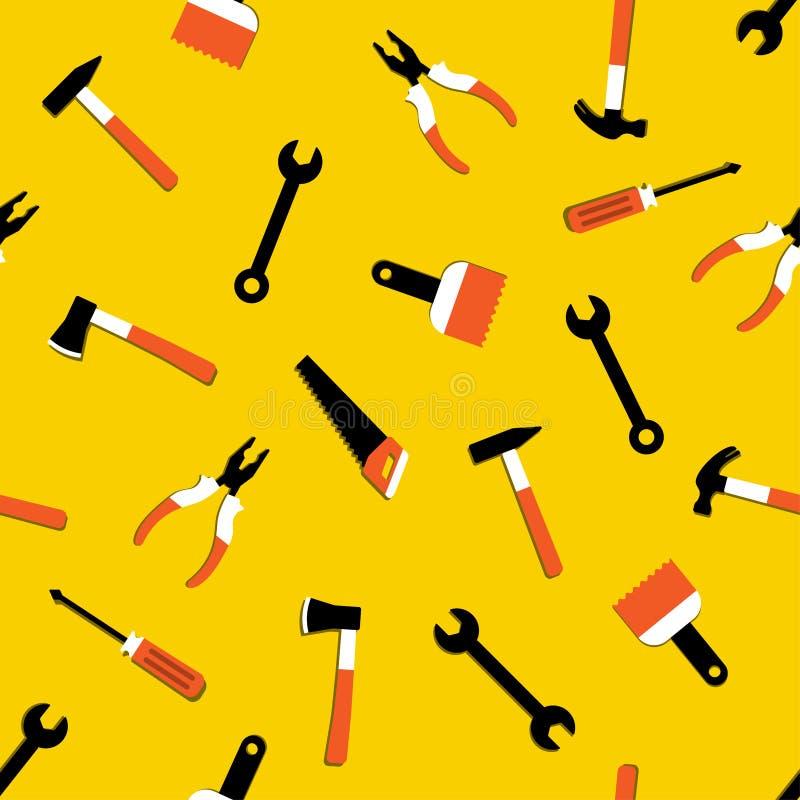 与锤子,拔钉器,轴,锯,钳子,油漆刷,螺丝刀的传染媒介无缝的样式 家庭修理和工作工具签字 库存例证