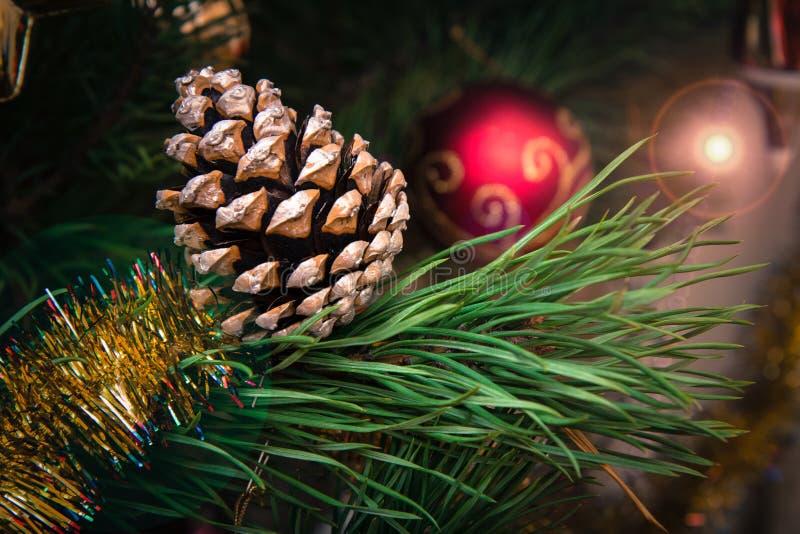 与锥体的云杉的分支和球,在背景的欢乐光 库存图片