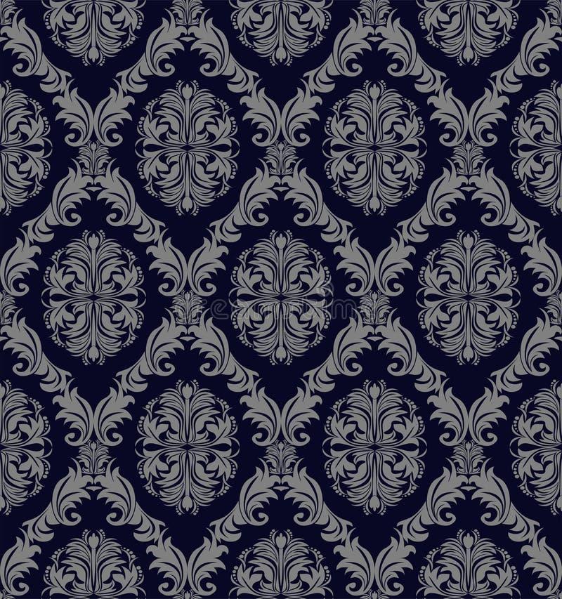 与锦缎花饰的减速火箭的无缝的墙纸设计的 库存例证