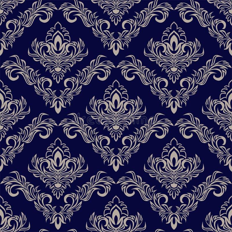 与锦缎装饰品的无缝的藏青色墙纸设计的 皇族释放例证