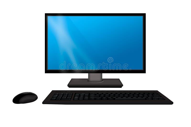 与键盘和老鼠的显示器 在白色背景隔绝的计算机 库存例证