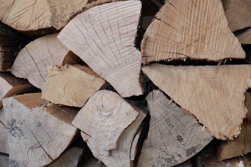 与镇压的干燥橡木木柴 免版税图库摄影