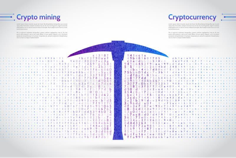 与镐和计算机编码的抽象采矿概念 皇族释放例证