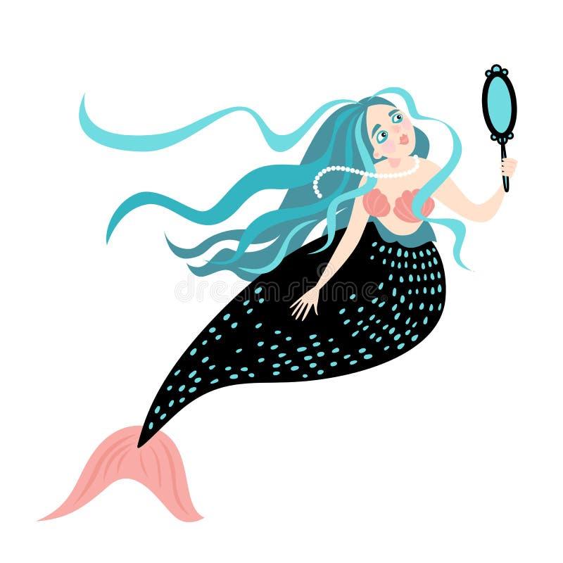 与镜子的滑稽的动画片美人鱼 皇族释放例证