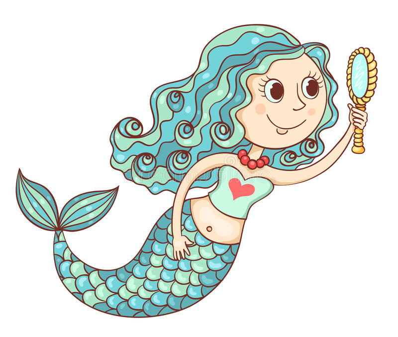 与镜子的逗人喜爱的美人鱼 皇族释放例证