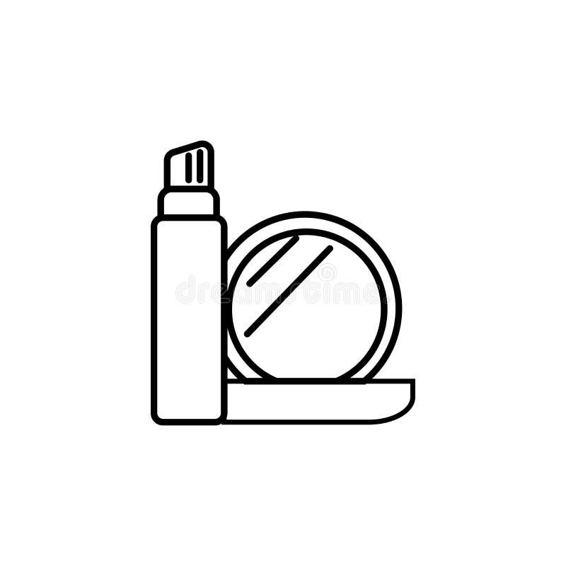 与镜子象的化妆用品 库存例证