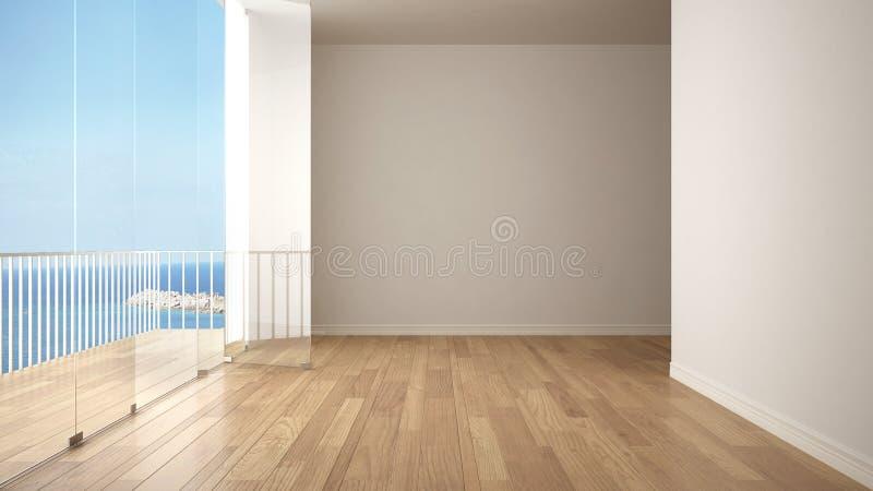 与镶花地板和大全景大阳台的空的内部 海有蓝天的海洋全景在背景中 Eco房子interio 皇族释放例证