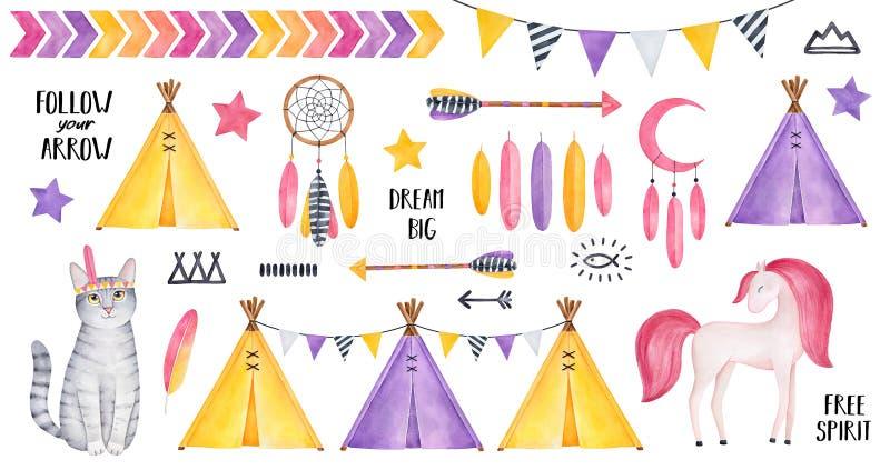 与镶边小猫字符,微笑的马,星,羽毛,dreamcatcher,箭头,帐篷帐篷,旗布,各种各样的s的大部族集合 皇族释放例证