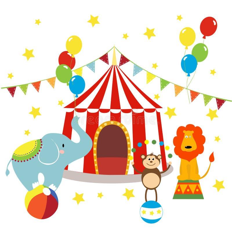 与镶边帐篷、快乐的马戏、大象、狮子和猴子的狂欢节 库存例证
