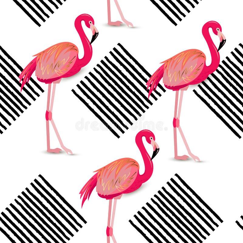 与镶边正方形和桃红色火鸟的无缝的样式 库存例证