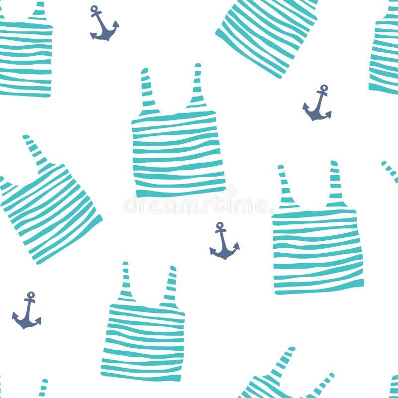 与镶边球衣和船锚的无缝的样式 向量例证