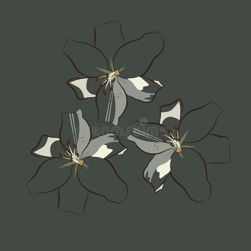 与镶边瓣的三朵百合花类似在黑暗的多灰尘的绿色背景的振翼的蝴蝶 E 皇族释放例证